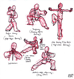 Drawings of Poses in Red