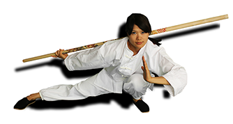 Kung Fu girl with wodden Bow Staff