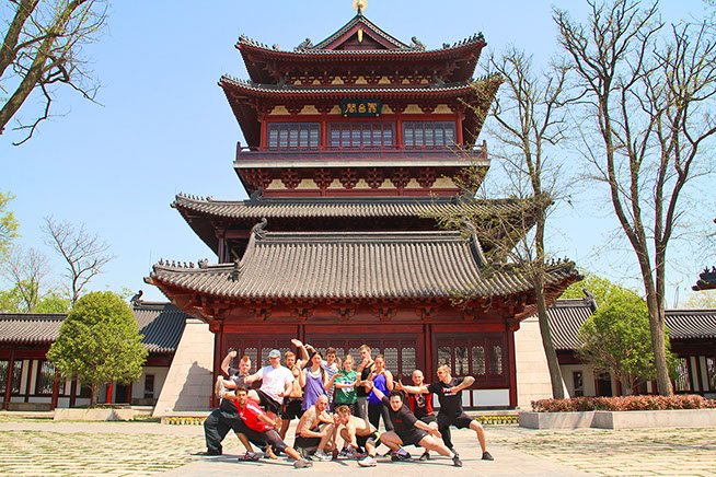 Kung Fu temple with students at Kung Fu Bootcamp